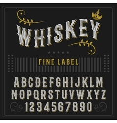 Whiskey label font and sample label design vector