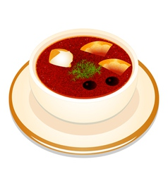 Ukrainian hodgepodge soup with sour cream in a bow vector