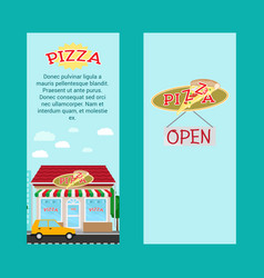 Pizza vertical flyers with shop building vector