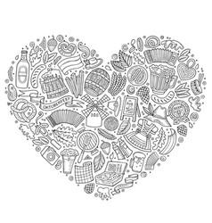 Set of oktoberfest cartoon doodle objects vector