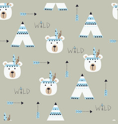 Seamless pattern with indian bears vector