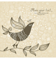 floral bird background vector image