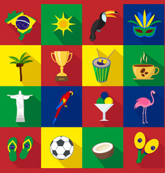 Brazil set of cartoon flat icons vector