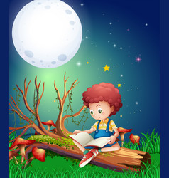 Little boy reading book in garden at night vector