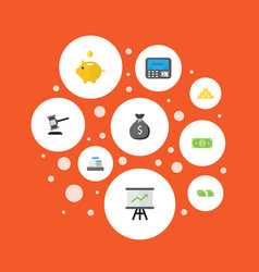 Flat icons money atm ingot and other vector