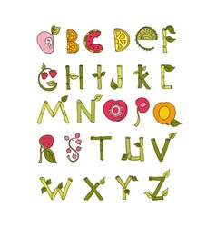 Hand drawn alphabet - Nature and Fruits vector image