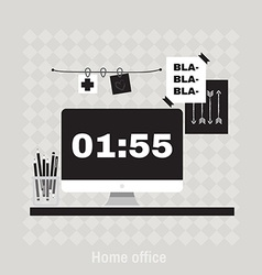 Flat of hipster home office workplace vector