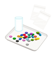 Pills with drinking water on counting tray vector