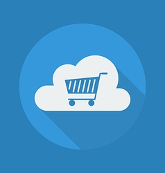 Cloud computing flat icon cart vector