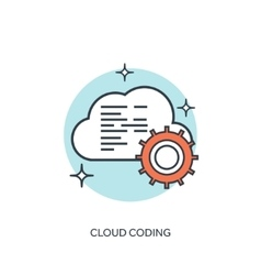 Flat lined cloud computing icon vector image