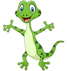 Cute green lizard posing isolated vector