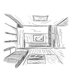 Room interior sketch vector
