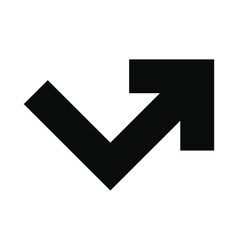 Arrow angle turning to right icon vector