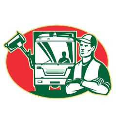 Garbage man collector vector