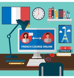 Learning french online language school education vector