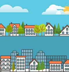 Different city scene collection design elements vector