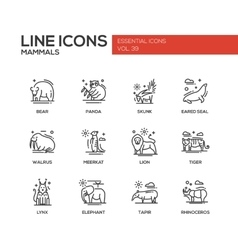 Mammals - line design icons set vector