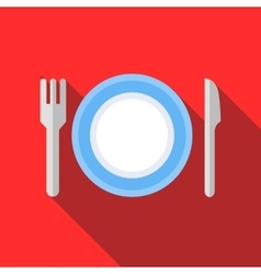 Plate with fork and knife icon flat style vector