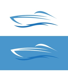 abstract fast boat outline design template vector image