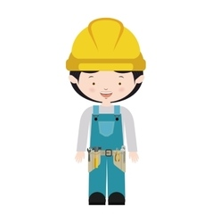 Avatar worker with toolkit and blue uniform vector