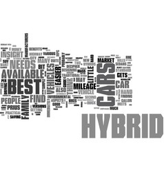 Best hybrid cars text word cloud concept vector