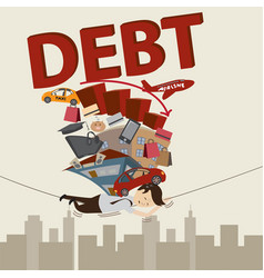 businessman with debt debt concept cartoon vector image
