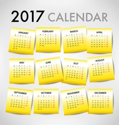 Calendar for 2017 for organization and business vector image vector image