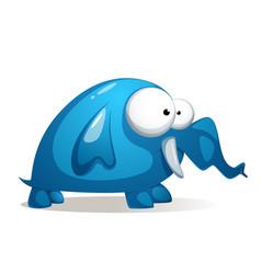 cartoon funny cute blue elephant vector image vector image