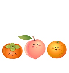 cute fruits persimmon peach orange vector image