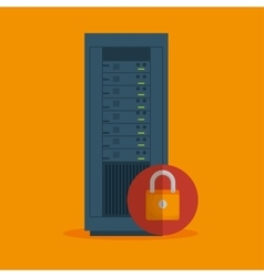 Data server security lock icon vector
