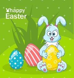 Easter bunny egg hunt cartoon rabbit greeting vector