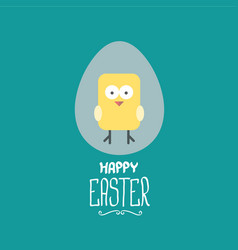 Easter greeting card with cartoon chicken vector