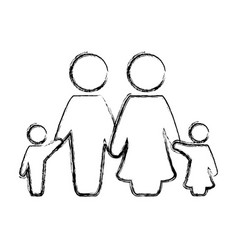 figure nice family together with parents and vector image