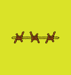 Flat shading style icon barbed wire vector