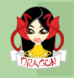 Girl in chinese zodiac theme dragon vector