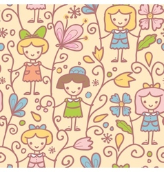 Girls with flowers seamless pattern background vector image vector image