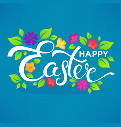 Happy easter lettering composition for your card vector