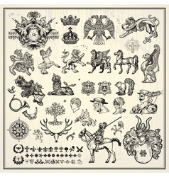 heraldic elements collection vector image vector image
