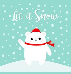 Let it snow polar white bear cub waving hand paw vector