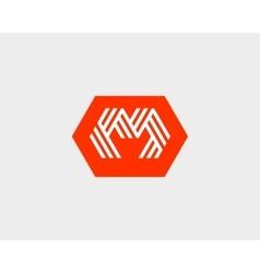 Letter m w logo icon design creative line vector