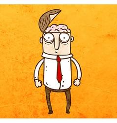 Man with Open Brain Cartoon vector image