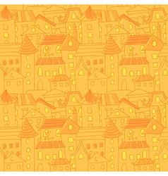 Retro style hand drawn city houses seamless vector image vector image
