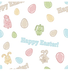 Seamless pattern with cute easter eggs bunnies vector image