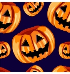 Seamless pattern with scary pumpkins vector image