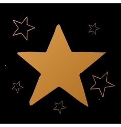 set of stars gold stars on black vector image vector image