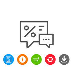 Shopping speech bubble line icon special offer vector