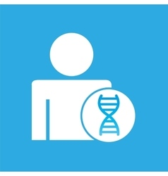 Silhouette man with dna molecule science graphic vector