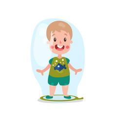 sweet cartoon blonde little boy standing inside vector image vector image