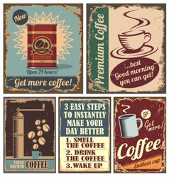 Vintage coffee posters and metal signs vector image vector image
