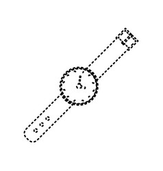 Watch sign black dashed icon vector